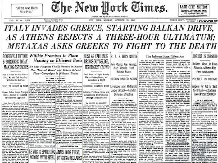 The New York Times front page, October 28, 1940