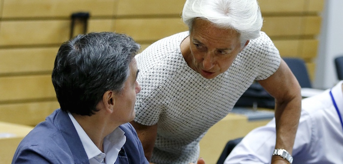 IMF chief Christine Lagarde and Greek finance minister Euclid Tsakalotos in Brussels