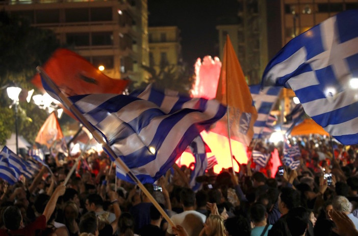 Celebration in Syntagma continues well into the night