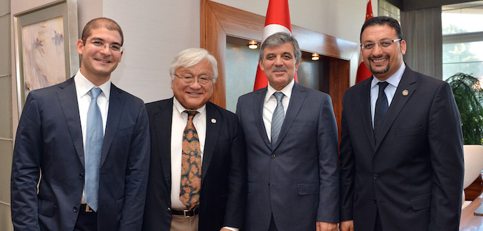 California Congressman Mike Honda (center-left) and Turkish president Abdullah Gül (center-right) during a 2013 visit to the country.