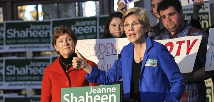 U.S. Senators Elizabeth Warren from Massachusetts and Jeanne Shaheen from New Hampshire, seen here at a campaign event together.