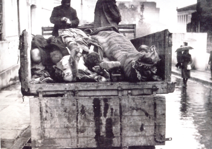 Collecting the dead in the streets of Athens, first winter of Axis occupation, 1941-1942 (near Stadiou Avenue outside the National Library)