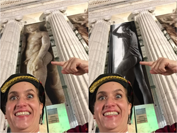 Outside Chicago's Field Museum where Greek bareness is on full display (Photos by Christina Kakavas vya Facebook)