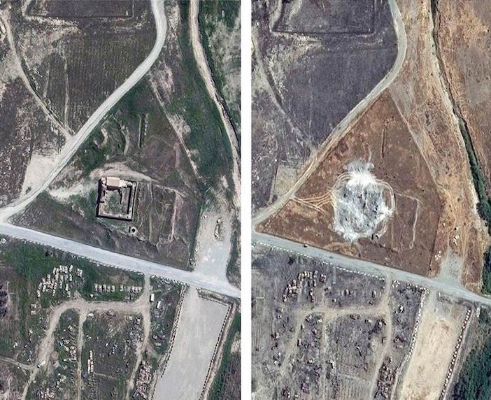 Before and after satellite images