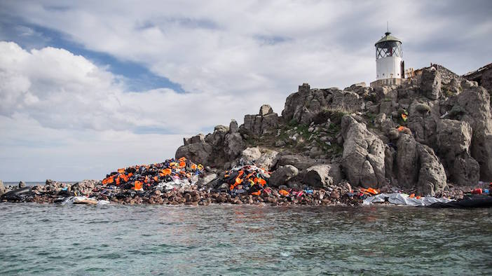 The cliffs surrounding the lighthouse. (Photo: Lighthouse Relief Lesvos via Facebook)