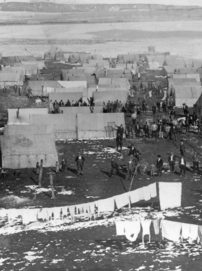 The Ludlow tent colony where 1,200 striking workers lives, along with their families, after they were evicted from the company housing centers.