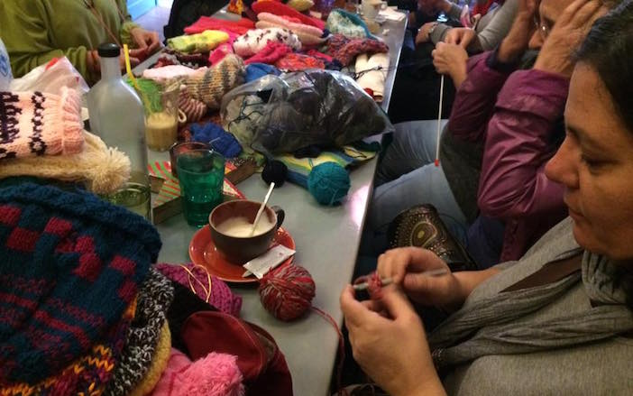 Women gather at coffee shops, in homes and restaurants to knit