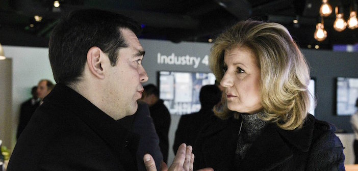 Greek prime minister Alexis Tsipras with Arianna Huffington (via Twitter)