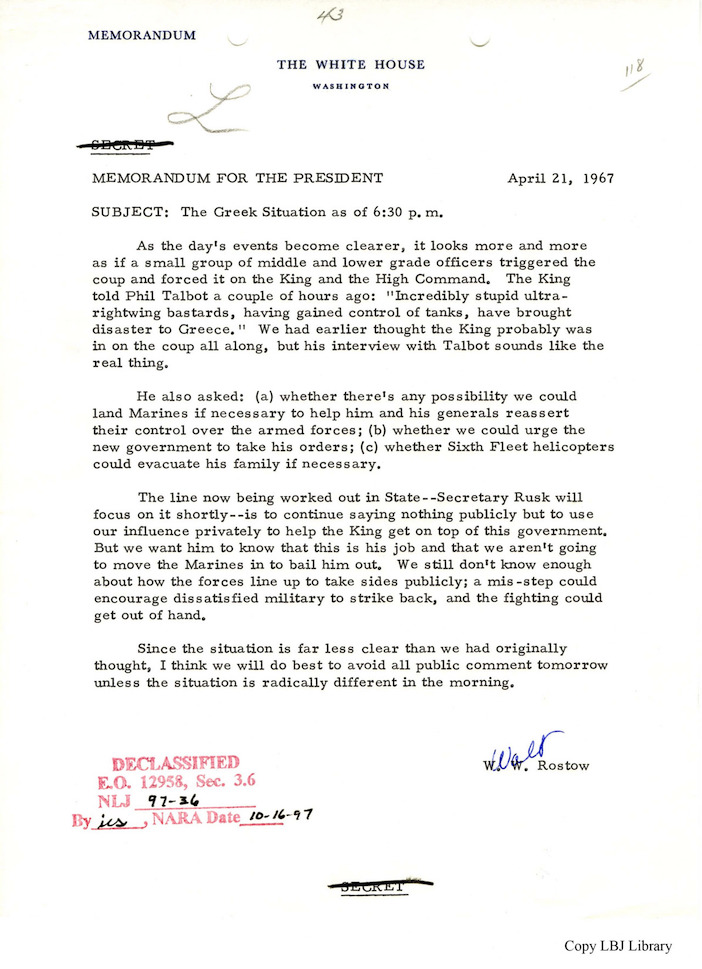 An updated memo later in the day updating the President of the situation in Greece.