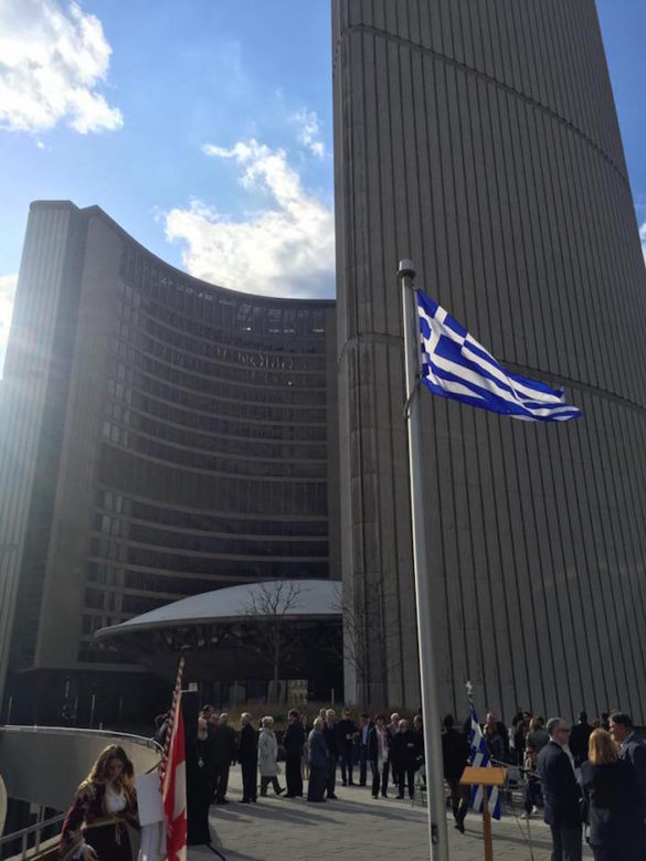 Greek Flag on Prominent Display Above Toronto City Hall for Battle of Crete Commemoration