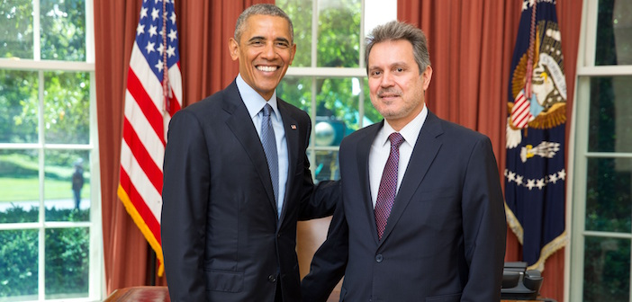 New Ambassador of Greece Haris Lalacos to the United States Presents Credentials to President Barack Obama