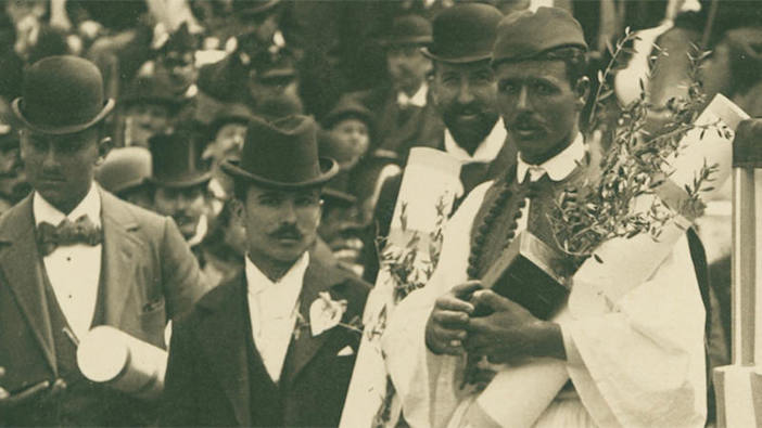 Spyridon Louis receiving his prize for winning the first marathon race at the 1896 Olympics.