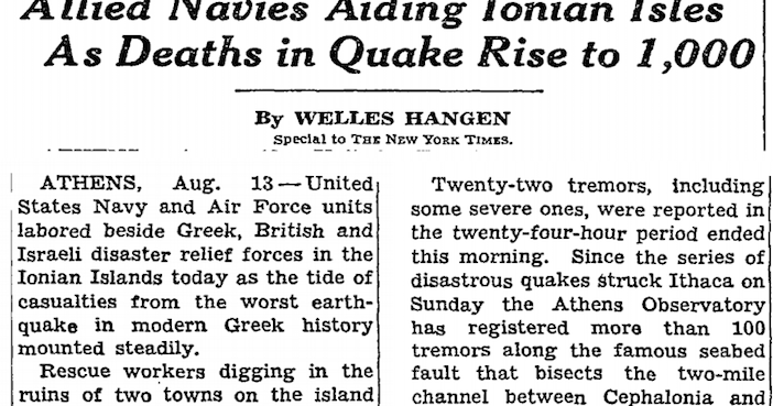 The New York Times reported about the quake and the Allied ships that sped to support relief efforts