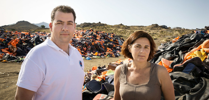 Greece. Winners of UNHCRís Nansen Award 2016, Efi Latsoudi and Konstantinos Mitragas