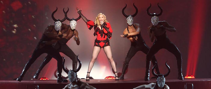 "Cretan minotaurs were the theme of her video and live performances of ""Living for Love."""