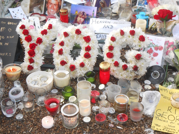 """A tribute to the singer outside his home. Michael's family and close friends called him """"Yog,"""" which is a nickname derived from his Greek name."""