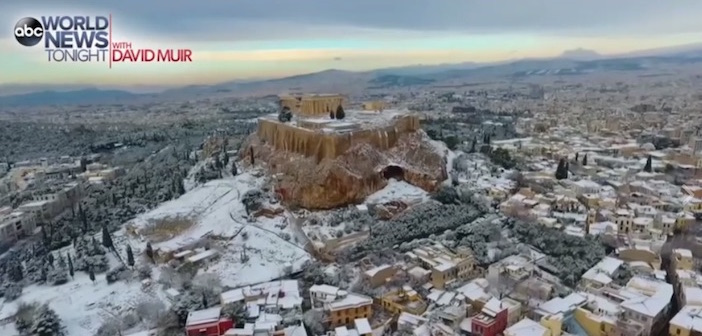 (Video) Drone Footage of the Stunning Snow-Covered Acropolis on ABC's World  News