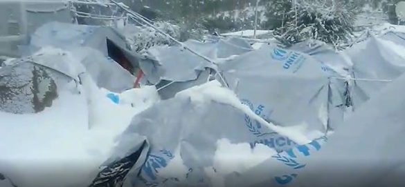 (Video) Shocking Conditions for Refugees in Outdoor Camps in Greece; Moria Camp on Lesvos Blanketed in Snow