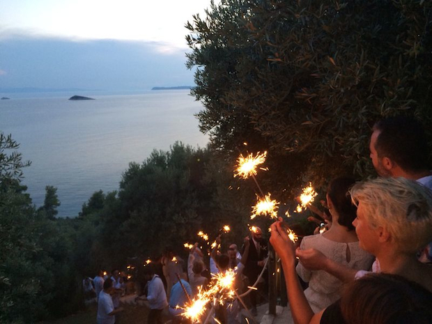 Guests celebrate with sparklers