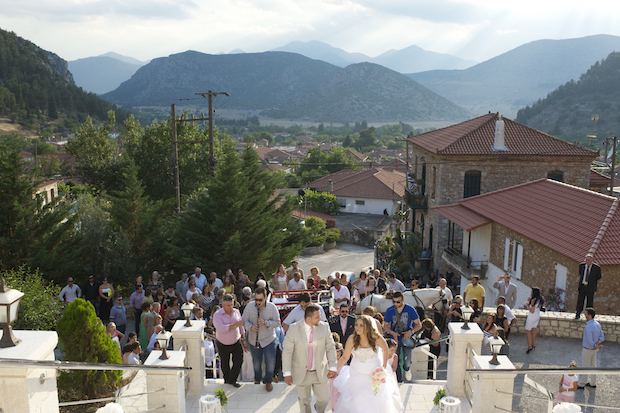 Entering the church with Nestani in the background