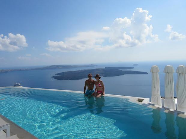"""High atop the Santorini cliffs, where the couple celebrated their """"second honeymoon"""" after they renewed their vows"""